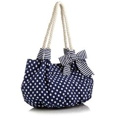 Navy Polka Dot Printed Beach Bag ($35) ❤ liked on Polyvore