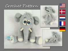 This is crochet pattern and NOT the finished elephant toy. Crochet pattern can be downloaded immediately from Etsy once payment is confirmed. Pattern is written in ENGLISH (using US crochet terminology), DANISH, DUTCH, GERMAN and FRENCH languages. This amigurumi elephant toy is easy to make, if you know all the basic crochet terms: - crocheting in rounds - chain, slip, single crochet stitch - increasing and decreasing Tutorial comes with lots of photos illustrating the process to help you…