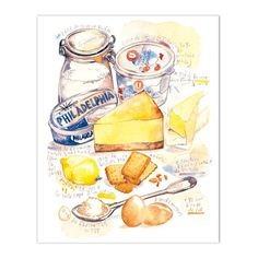 """Cheese cake recipe Archival giclee reproduction print from watercolor illustration with french handwritting. Signed with pencil. Printed on beautiful fine art """" BFK Rives """" hot-pressed paper, smooth s"""