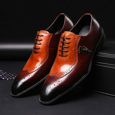 3373e470403 Luxury Classic Mens Brogue Oxfords Dress Shoes Genuine Cow Leather Brown  Pointed Toe Lace Up Male