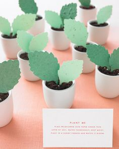 Plantable Paper Leaves How-To - Martha Stewart Weddings Favors Wedding Paper, Diy Wedding, Wedding Gifts, Wedding Ideas, Wedding Lunch, Wedding Photos, Wedding Stuff, Diy Spring Weddings, Wedding Favor Inspiration