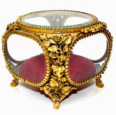 ANTIQUE ORMOLU BEVELED GLASS FILIGREE JEWELRY CASKET, MATSON TRINKET BOX | eBay