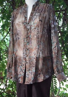 Coldwater Creek Shaped Brown LS Sheer Blouse M (10-12) 68% Lyocell 32% Poly #ColdwaterCreek #Blouse #anytime