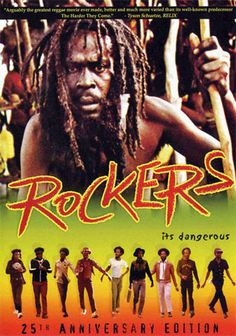 "Rockers (1978) film directed by Theodoros Bafaloukos. Stars Reggae Musicians: Burning Spear, Gregory Isaacs, Big Youth, Dillinger, and Jacob Miller. Stars: Leroy ""Horsemouth"" Wallace. Rockers intended as a documentary became a full-length feature showing reggae culture, characters and authentic mannerisms. Leroy shown living with wife, children, and in his home. Premiered 1978 at San Francisco Film Festival. Jamaican Patois spoken in film had English language subtitles for a foreign…"