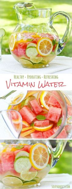 "DIY Vitamin Water detox INGREDIENTS 2 cups watermelon, sliced into 1"" cubes 1 lime, sliced 1 lemon, sliced 1/2 red grapefruit, sliced and quartered 1 medium cucumber, sliced 12 mint leaves 2 quarts water ice sparkling water (optional)"