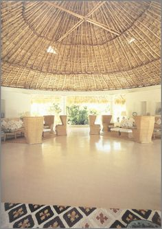 Gloria Guinness' house overlooking the Bay of Acapulco in Acapulco.  The round room called the Palapa had a ceiling made of palm fronds. Photo by Horst P. Horst.  Vogue, June 1972.