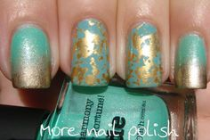 More Nail Polish: Jade and gold - gradient and foils