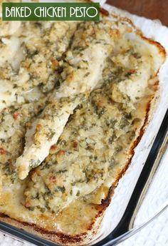 Dinner is made simple with this baked pesto chicken recipe.