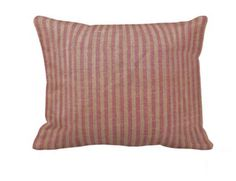 Red and Beige Ticking Pillow Sham