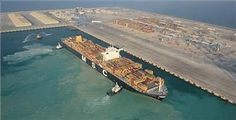 New Abu Dhabi Container Terminal Receives First Ship Container Terminal, News Magazines, Coast Guard, Abu Dhabi, Boat, Ship, Dinghy, Boats, Ships