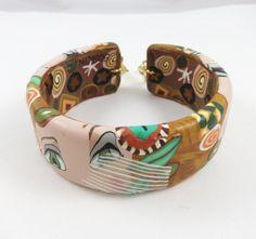 Colorful Polymer Clay Cuff Bracelet Handmade by SweetchildJewelry