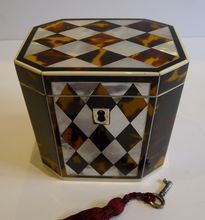 English George III Tortoise Shell, Mother of Pearl & Ivory Tea Caddy c.1815