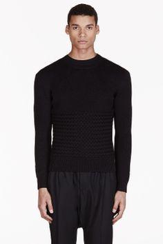 CARVEN Black Basket Weave Sweater