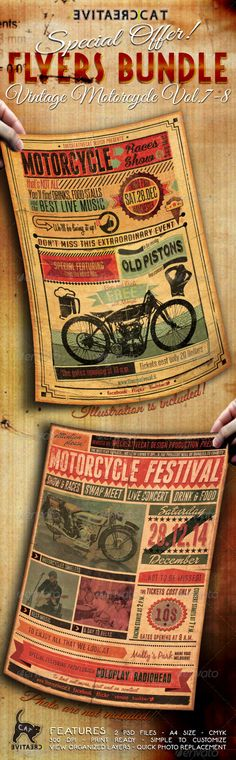 Vintage Motorcycle Flyer/Poster Bundle Vol. 7-8