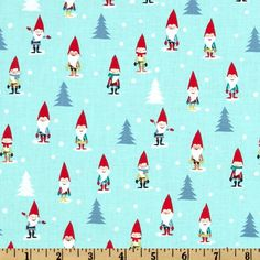 Michael Miller Holiday Many Mini Gnomes Blue from @fabricdotcom  Designed for Michael Miller Fabrics, this cotton print features small gnomes in Christmas colors. Colors include red, green, black, yellow, white and grey on a blue background. Use for quilting and craft projects as well as apparel and home décor accents.