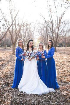 Lorien's bridesmaids looked absolutely stunning in our Royal Blue Daisy Dresses. They added lace sleeves and lace over the bodice. Royal Blue Bridesmaid Dresses, Bridesmaids, Wedding Dresses, Daisy Dress, Blue Daisy, Absolutely Stunning, Beautiful, Lace Sleeves, Dress Making