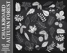 Chalkboard Autumn Forest by LoveGraphicDesign on Creative Market Fall Chalkboard Art, Chalkboard Clipart, Thanksgiving Chalkboard, Chalkboard Doodles, Chalkboard Art Quotes, Chalkboard Designs, Halloween Chalkboard Art, Chalkboard Writing, Chalkboard Drawings