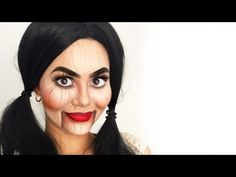 Are you looking for inspiration for your Halloween make-up? Browse around this website for creepy Halloween makeup looks. Scary Doll Costume, Puppet Makeup, Creepy Doll Makeup, Scary Makeup, Doll Halloween Costumes, Doll Make Up Halloween, Marionette Costume, Disney Halloween, Halloween Ideas