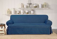 Sure Fit Slipcovers Authentic Denim One Piece T-cushion Slipcovers - Sofa T-cushion