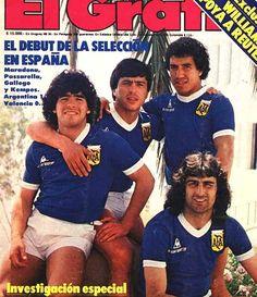 Diego, Mario Kempes, Americo Gallego y Daniel Pasarella.. Revista El Grafico..