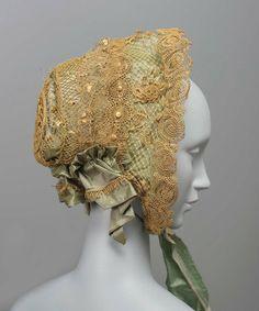 1860, America - Bonnet - Straw, taffeta