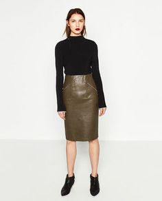 FAUX LEATHER PENCIL SKIRT-Midi-SKIRTS-WOMAN | ZARA United States