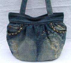 Denim shoulder bag / tote by poppypatchwork on Etsy, $87.00