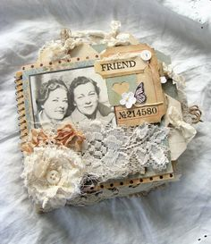 Mini Journal - Friends - Vintage Journal, Junk Journal, Smashbook, Album, Scrapbook, Shabby, Tattered by ShabbySoul on Etsy