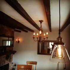 Dimmable led Edison's over the breakfast bar Pendant Light Fixtures, Old Houses, Restoration, Chandelier, Ceiling Lights, Led, Lighting, Breakfast, Home Decor