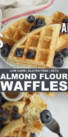 Low carb waffles can be just as good or better than wheat flour ones. These delicious almond flour waffles can be made ahead and frozen for quick and easy breakfast. Low Carb Waffles, Healthy Waffles, Gluten Free Waffles, Low Carb Bread, Keto Bread, Grain Free Waffle Recipe, Bread Diet, Protein Waffles, Almond Flour Waffles