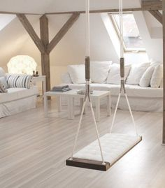 Indoor swing for a kid play room/living romm Attic Rooms, Attic Spaces, Attic Playroom, Attic Loft, Garage Attic, Attic House, Attic Apartment, Attic Bathroom, Playroom Ideas