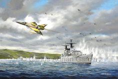 Los Laucha en acción! El 21 de mayo de 1982 bajo una espesa capa de nubes, tres cazabombarderos IAI Dagger de la Fuerza Aérea Argentina atacan dos blancos navales en el Estrecho de San Carlos. El 1er. Tte. Román (C-421) junto al Mayor Puga (C-412) se lanzan sobre la HMS Brillant mientras que el 1er. Tte. Callejo (C-415) ataca solo a su gemela la HMS Broadsword.