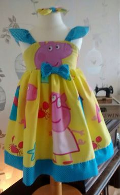 Peppa pig fabric dress handmade to order Peppa Pig Dress, 3rd Birthday, Princess Peach, Kids Outfits, Summer Dresses, Trending Outfits, Unique Jewelry, Handmade Gifts, Party