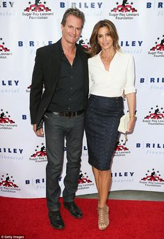 Good cause: Cindy Crawford and Rande Gerber headlined a fundraising boxing event in Hollywood on Wednesday night that benefits the Sugar Ray Leonard Foundation