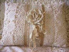 Daphne Nicole - Lynda Cade: love this! Crazy Quilting, White Lace Bedding, Soft Pillows, Throw Pillows, Vintage Cushions, Vintage Handkerchiefs, Sewing Pillows, Linens And Lace, Handmade Pillows