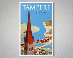 Tampere Finland Vintage Travel Poster - Poster Print, Sticker or Canvas Print / Gift Idea / Christmas Gift