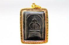 Phra Somdej Thai Amulett des ehrwürdigen Luang Pho Taap aus dem Jahr 1962 mit handgefertigter und wasserdichter Gold Maßfassung.