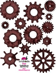 Every scrapbooker should have a collection of gears on hand. FREE Digital download. SVG cutter file available ---> http://eridoodle.blogspot.com/2011/11/get-into-gear.html