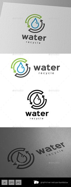 Recycle Water - Logo Design Template Vector #logotype Download it here: http://graphicriver.net/item/recycle-water-logo-design/9929125?s_rank=1473?ref=nesto
