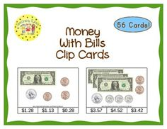 These cards are terrific for Math Centers – A Hands-On Activity that students love!  14 pages; 56 cards to help your students practice their money-counting skills.  All cards have dollar bills along with varying numbers of coins (pennies, nickels, dimes, and quarters). Lowest card amount is $1.01 and the highest card amount with one dollar bills is $6.00. I have included 8 cards that use five dollar bills with various coins.  Look how real this money looks!