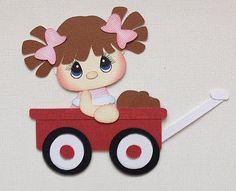 One Premade Piecing Girl in Wagon Kids Paper Piecings by My Tear Bears Kira | eBay