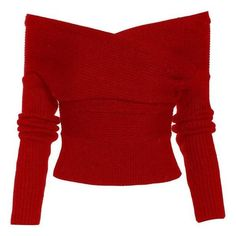 """""""Drop It Cross Plunging Sweater ❤ liked on Polyvore featuring tops, sweaters, plunging neckline tops, red sweater, raglan sweater, plunge-neck tops and sexy tops"""