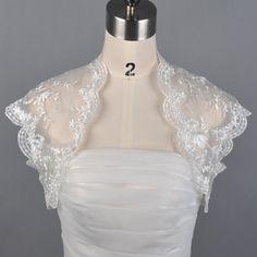 White/Ivory Short Sleeve Lace Jacket Bolero Wrap Shrug for Wedding/Bridal Dress
