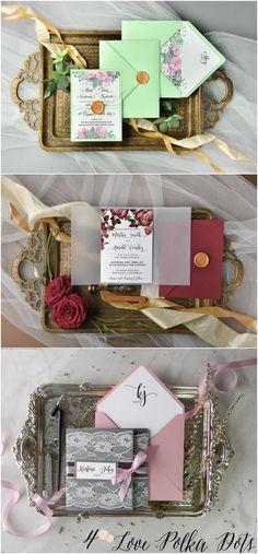 Watercolor wedding invitations #redwedding #pinkwedding