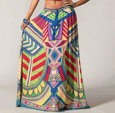 Boho Gypsy Skirt  Red by SabrinaFashionTrends on Etsy