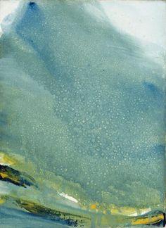 Olivier DEBRE (1920-1999)   Vert gris pâle tache bleu jaune, Mont Sorak, Corée 1983   Huile sur toile signée, datée et titrée au dos   33 x 24,5 cm      Provenance ;   Collection Claude et Michèle Harel  - Millon - 06/03/2017
