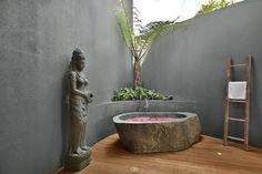 Bali bathroom - I want one of those bamboo towel racks!