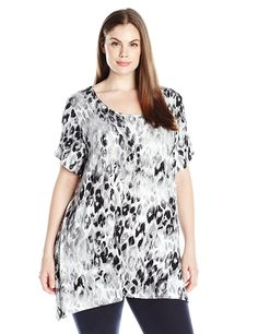 3ac91d58195f13 Ruby Rd. Women s Plus Size Scoop Neck Abstract Leopard Print Knit Sharkbite  Top --