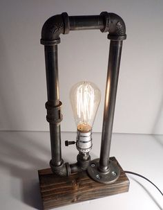 Industrial pipe lamp-Unique table lamp-Steampunk table lamp-Vintage style lamp light-Edison bulb lamp-Bedside lamp light-Rustic lighting