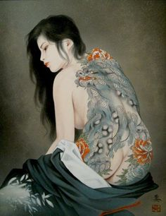 """Born in Niigata, Japan in Ozuma Kaname began studying traditional Japanese painting under his uncle, artist Sakai Soushi, from a young age. Kunst Tattoos, Body Art Tattoos, I Tattoo, Sketch Tattoo, Japanese Art Modern, Japanese Artists, Vintage Japanese, Japanese Tattoo Art, Japanese Painting"